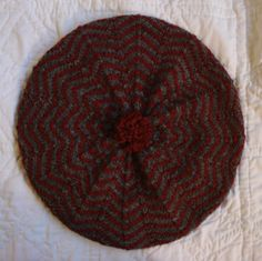 Women's New Hand Knit 100% Sport Weight Wool Beret Tam Hat Maroon Grey Handmade   eBay