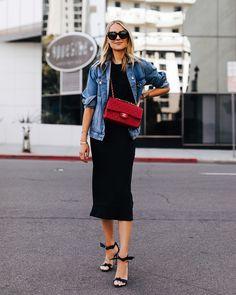Fashion Jackson Wearing Denim Jacket Black Tshirt Black Silk Skirt Red Chanel Handbag Alexandre Birman Clarita Black Sandals # Casual Outfits with flats leopards Cl Fashion, Trend Fashion, Look Fashion, Denim Fashion, Fashion Outfits, Fashion Tips, Fashion Ideas, Fashion Quotes, Style Année 80