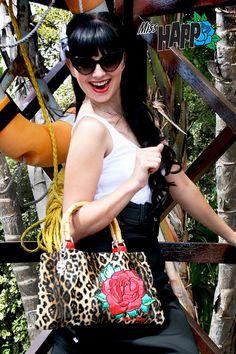 Rockabilly Rose Leopard Bag by MissHapp on Etsy, $60.00