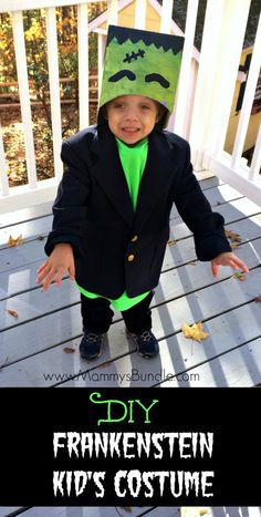 My toddler LOVED this homemade Frankenstein costume! Such a perfect and easy DIY…