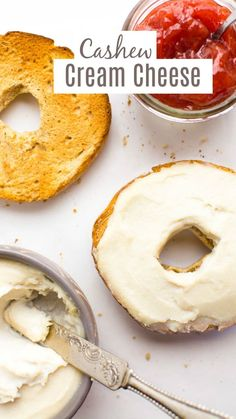 Cashew cream cheese is the perfect homemade dairy-free alternative. It's tangy, creamy and spreadable. Whips up in about 5 minutes and lasts all week in the fridge. Slather this vegan cream cheese on bagels or toast for an easy grab-n-go breakfast. Vegan Cheese Recipes, Vegan Mac And Cheese, Vegan Breakfast Recipes, Vegan Recipes Easy, Whole Food Recipes, Cashew Cheese, Protein Recipes, Vegetarian Recipes, Dairy Free Alternatives