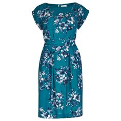Teal Floral Petal Print Tea Dress in DRESSES from Apricot