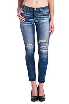 Ankle Skinny Jeansh with Destructed Details and heavy wash, Fun, Edgy and hip  ##distressjeans #acidwash #stonewash #denim