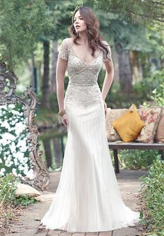 Discover the Maggie Sottero Amal Bridal Gown. Find exceptional Maggie Sottero Bridal Gowns at The Wedding Shoppe Vintage Inspired Wedding Dresses, Wedding Dress Trends, Designer Wedding Dresses, Bridal Dresses, Vintage Dresses, Wedding Gowns, Short Sleeved Wedding Dress, Vogue Wedding Dress Patterns, Wedding Dress Petite