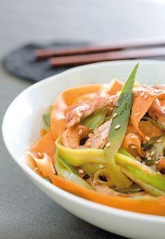 Pour satisfaire votre envie de déguster un plat savoureux, facile à faire et plein de vitamines. Craquez pour ce wok de légumes et poulet. Accord parfait pour réchauffer votre hiver tout en préservant le principal : le goût.