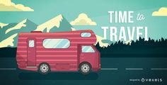 Motorhome illustration driving on a road over mountains. It also says Time to Travel. Great design for posters, postcards and more!