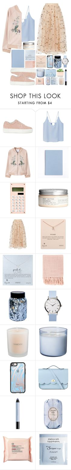 """Fashion♡☆"" by juliateodora ❤ liked on Polyvore featuring Axel Arigato, MANGO, H&M, Valentino, Dogeared, Surya, CO, Swarovski, Casetify and The Cambridge Satchel Company"