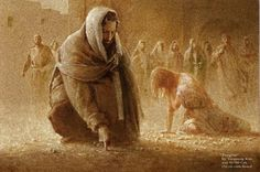 "Jesus writes on the ground...2008. by Yongsung Kim  ""neither do I condemn you""!"