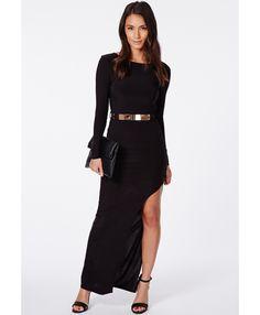 Claudia Black Slinky Backless Maxi Dress With Belt