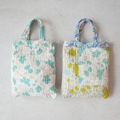 vintage fabric kantha style stitching tote