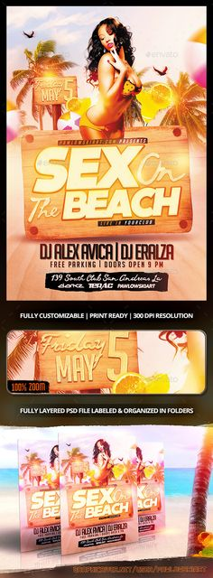 Sex On The Beach Flyer Template - Clubs & Parties Events