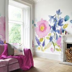 Add a new look to the home with the gorgeous Florrie Mural Wallpaper from the stylish bluebellgray. The pattern displays a wonderful selection of beautiful watercolour arrangements in a splashy colour palette to transform the room into a summery paradi Wallpaper Panels, Wallpaper Samples, New Wallpaper, Art Mur, Flower Mural, Bluebellgray, Floral Bedding, Soft Furnishings, Girl Room