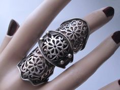 Vintage Sterling Renaissance Goth Armor Jointed Finger Ring