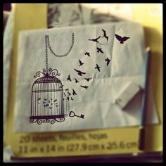Birdcage tattoo. I like the chain & key. Instead of birds, I would have a few feathers floating in the air.