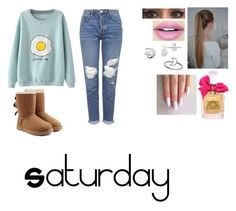 """Saturday"" by isabellasmall on Polyvore featuring Topshop, UGG Australia, Fiebiger, Itsy Bitsy and Juicy Couture"