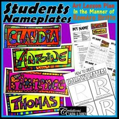 Students Nameplates: Art Project in the Style of Roméro Britto