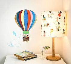 hot air balloon wall stickers - so nostalgic, they look like they're from a children's book! Kids Room Wall Stickers, Nursery Wall Stickers, Vinyl Wall Decals, Balloon Clouds, Balloon Wall, Hot Air Balloon Cartoon, Reusable Wall Stickers, Belle And Boo, Bedroom Ideas