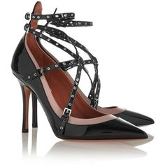 Valentino Love Latch eyelet-embellished patent-leather pumps ($985) ❤ liked on Polyvore featuring shoes, pumps, black high heel pumps, black patent pumps, beige pointed toe pumps, black pointy-toe pumps and black shoes