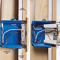 Mistake: Exposed combustible material Electrical boxes must be flush to the wall surface if the wall surface is combustible material. Boxes recessed behind combustible materials like wood present Home Electrical Wiring, Electrical Projects, Electrical Installation, Electrical Outlets, Electrical Engineering, Outdoor Security Lights, House Wiring, Diy Home Repair, Car Repair