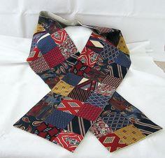 VINTAGE NECKTIE PATCHWORK SCARF wish I had dad's old ties!