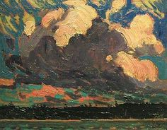 """""""Storm Clouds,"""" Tom Thomson,  1915, oil, 8.5 x 10.5"""", private collection."""