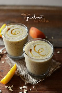 2 ripe peaches, 1 tbsp chia seeds, 1/4 cup rolled oats,  1/2 frozen banana (peeled before freezing), 1/4 cup orange juice, 1/2 cup almond milk & maple syrup to taste <3 #MyVeganJournal #Vegan
