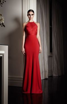 $1219 Gowns - Valentine Halter Wool Gown in Chilli - PRE-ORDER - Alex Perry