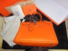 Mala Hermes birkin 35 genuine togo orange leather