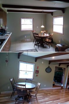 """Before & After: """"Been a long time in the making, but finally decided to remodel the kitchen. New cabinets, floor, walls, wiring....Doesn't look like the same house."""" http://remodel.lumberliquidators.com/detail/3-4-x-4-natural-hickory-hardwood-flooring-burton-oh"""