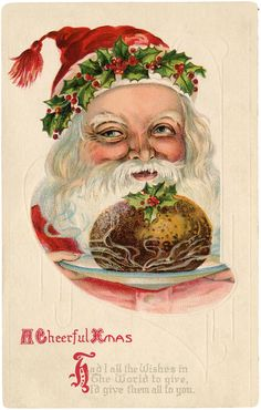 Old World Santa with Christmas Pudding Image! - The Graphics Fairy