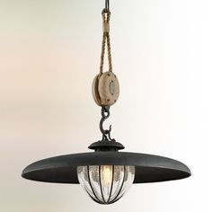 Check out Vintage Pulley Saucer Pendant - Small from Shades of Light Farmhouse Pendant Lighting, Large Pendant Lighting, Farmhouse Kitchen Lighting, Industrial Style Lighting, Farmhouse Chic, Pendant Lights, Industrial Chic, Tie Up Shades, Light Shades