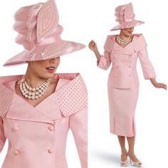 "Donna Vinci 11521 Colors: Pink Jacket Length: 25"" Skirt Length: 30"" Sizes: 8, 10, 12, 14, 16, 18, 20, 22 Matching Hat Donna Vinci 11521H http://www.divasdenfashion.com/Donna-Vinci-11521-p/don-11521.htm #DivasDenFashion #DonnaVinci #COGIC"