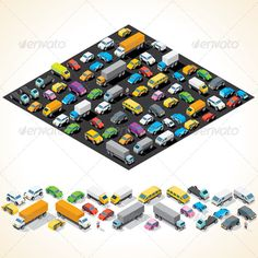 Buy Isometric Car Parking with Automobiles by PILart on GraphicRiver. Various Automobiles, Trucks, Buses. Isometric Vector Illustration - vector illustration with simple grad. Design Isométrico, Vector Design, Game Design, Design Elements, Graphic Design, Voxel Games, Low Poly Car, Funny Cartoon Characters, Human Icon