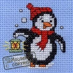Stitchlets Christmas Card Cross Stitch Kit - Penguin With Lantern