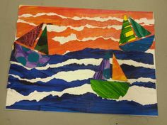 Another painted paper collage.  By D.,  age 11.