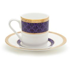 Mrs Moore's Vintage Store Harley Coffee Cup & Saucer - Purple ($71) ❤ liked on Polyvore featuring home, kitchen & dining, drinkware, purple, espresso cups and saucers, coffee cup saucer, espresso coffee cups and saucers i coffee cups and saucers