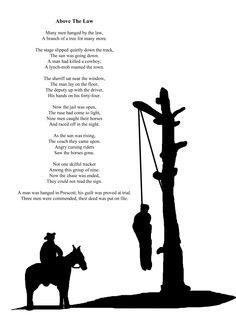 Above The Law  Sample page from Poems and Tales of the Old West By Robin 'Cody' Sanderson Illustrations by Sam Backhouse  http://www.lulu.com/shop/robin-sanderson/poems-and-tales-of-the-old-west/paperback/product-22353725.html