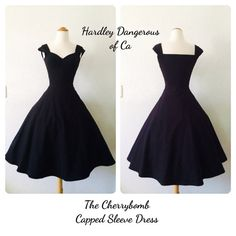 The Cherrybomb Black Capped Sleeve Dress, 1950s style Rockabilly Day Dress Sexy Off the Shoulder, Casual Bridesmaid 50s Inspired Wedding
