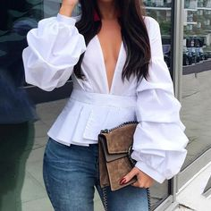 Celmia Women Sexy V neck Fashion Blouse Long Lantern Sleeve Elegant Office Shirt Solid Casual Tunic Top Party Blusas Femme Chic Outfits, Fashion Outfits, Womens Fashion, Fashion Trends, Ladies Fashion, Fashion Ideas, Fashion Today, Work Outfits, Fashion Boots