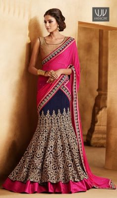 Buy Now @ http://goo.gl/B36CsM navy blue bhagalpuri lehnga cum lehenga saree with delicately embroidered chiku thread work. Bright fuschia inner coming outside giving it highlighteing border effect. Pallu in fuschia chiffon with all over hand butis.Blouse in textured coding effect. Product No VJV-BRID5019 @ www.vjvfashions.com #chaniyacholi #ghagracholi #indianwear #indianwedding #bridallehenga #fashions #trends #weddinglehenga #india #womenwear #weddingwear #ethnics #designerlehenga