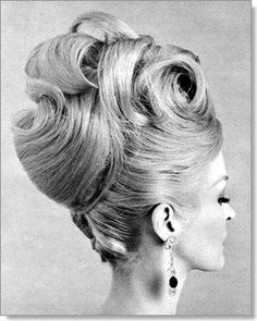 """""""up-do"""" style sweeping large curls & exaggerated """"french twist"""". its all about big hair, Vintage Updo, Retro Updo, Green Label, 1960s Hair, Large Curls, Flapper, Hair Magazine, Retro Hairstyles, Beehive Hairstyles"""