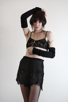 1920s Lingerie Set . Silk and Lace . Black Boudoir Attire . Flapper Underwear. $220.00, via Etsy.