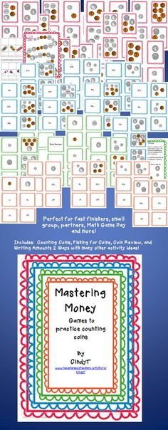 """$4.00   Many different levels of math activities in one packet!   This packet will support many groups playing at the same time!.  Counting coins, naming and learning the value, writing coin amounts two ways and a fun """"Go Fish!"""" type game."""