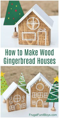 Crafts For Boys How to Make Adorable Wooden Gingerbread Houses - Frugal Fun For Boys and Girls Gingerbread Christmas Decor, Cardboard Christmas Tree, Gingerbread Decorations, Christmas Toys, Christmas Signs, Gingerbread Houses, Christmas Ornaments, Wooden Christmas Decorations, Christmas Houses