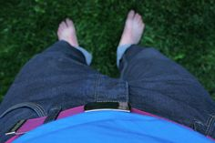 one-of-a-kind anonum belt in action #repurposed #belt #ooak I love this colour on blue jeans!