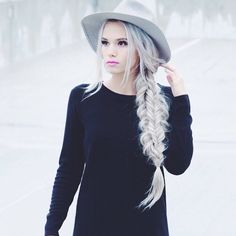 @kirstenzellers is killing the Grey Hair trend with her Ash Blonde Luxies styled in a double fishtail braid! Love this look!   Photo by: https://instagram.com/p/3Z-9VForxv/?taken-by=kirstenzellers  #LuxyHairExtensions