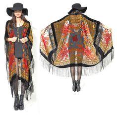 Reine Seide Burnout Fringe Hippie Boho Zigeuner Cape Festival Kimono Samtjacke