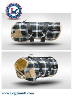 Blue & Green Plaid Dog Coat by LEGITIMUTT. Our dog coats are proudly made in American and come in a wide variety of sizes to fit dogs of virtually any breed.