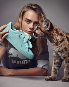 Mint! @puma sure knows how to make us fall in love.  @caradelevigne and her baby puma friend front the #DoYou campaign featuring the new Suede Heart sneakers. Hit the link in our bio for the full story. #puma #caradelevingne #shoes #fashion #ellemalaysia  via ELLE MALAYSIA MAGAZINE OFFICIAL INSTAGRAM - Fashion Campaigns  Haute Couture  Advertising  Editorial Photography  Magazine Cover Designs  Supermodels  Runway Models