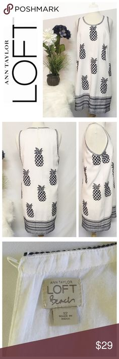 Ann Taylor LOFT Beach Pineapple Dress ~~ LOFT Beach Sleeveless White & Navy Blue Embroidered Pineapples Dress ~~ Size 12 ~~ Bust 39 ~~ Waist 40 ~~ Length 35 ~~ Embroidered stitching detail at bottom & around sleeves ~~ Fully lined ~~ Linen/cotton blend ~~ Like new condition, no flaws ~~ All clothing comes freshly laundered, hand washed or dry cleaned unless NWT ~~ NO TRADES PLEASE 💕 LOFT Dresses Midi